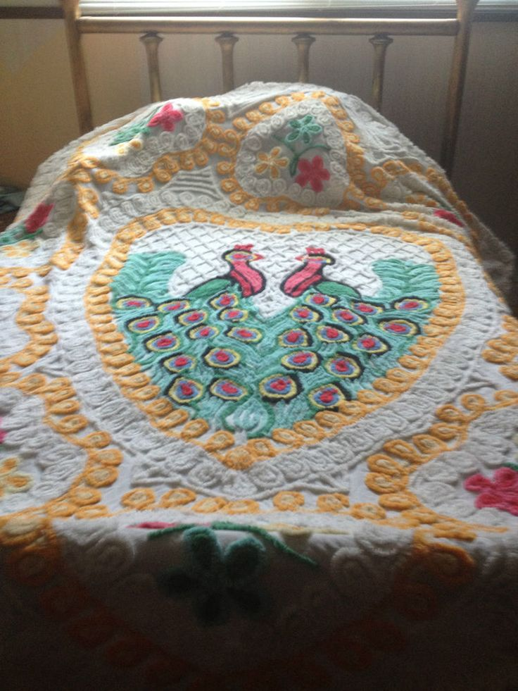 1000 images about peacock chenille bedspreads on pinterest queen size campers and 50s bathroom - Peacock bedspreads ...