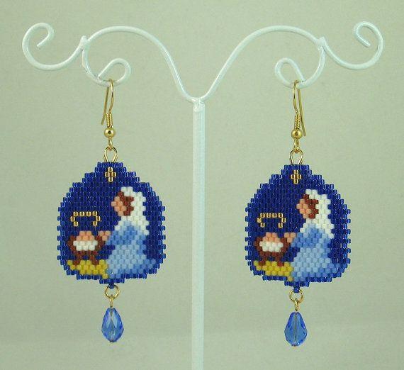 Mary and Jesus Nativity Beaded Earrings - Christmas Jewelry