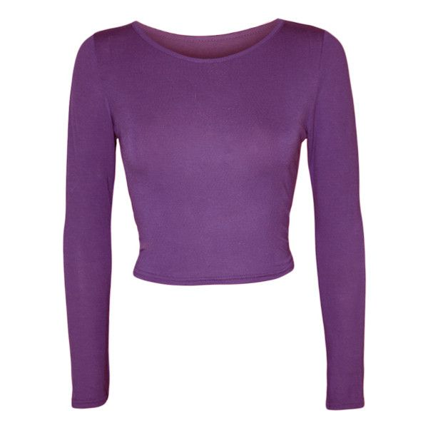 Jeane Long Sleeve Crop Top ($11) ❤ liked on Polyvore featuring tops, shirts, crop tops, purple, form fitting shirts, cropped tops, rayon tops, long sleeve shirts and shirt tops
