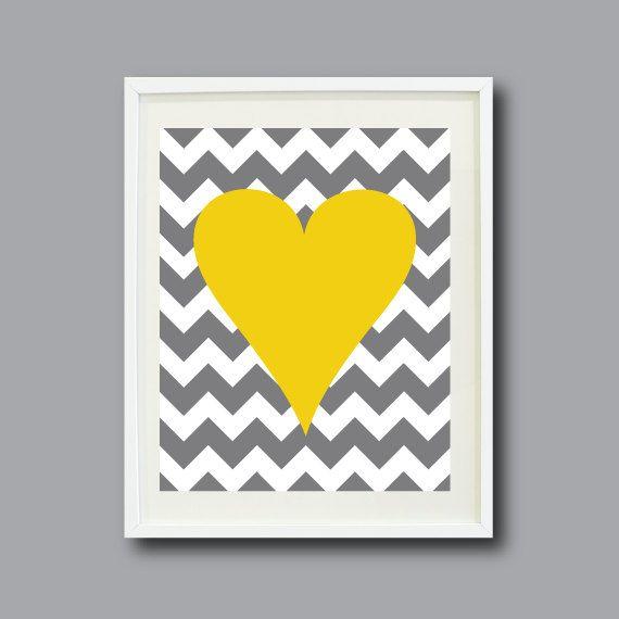 Chevron Stripes Heart Art Print 11x14-Nursery, Kids Room, Playroom, Teen-Mustard Yellow, Grey/Gray, White OR Choose Color-Modern Wall Art on Etsy, $24.00