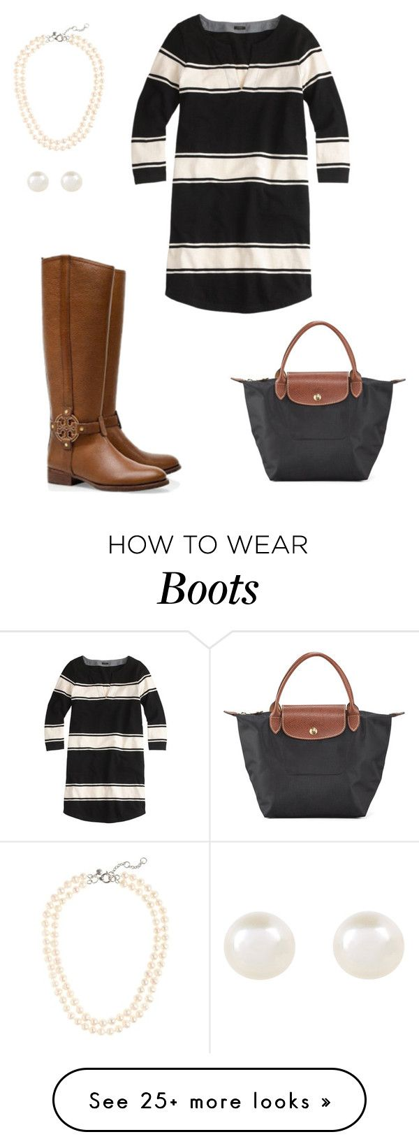"""""""Fall dress and boots"""" by dancetx on Polyvore featuring Longchamp, J.Crew, Tory Burch and Accessorize"""