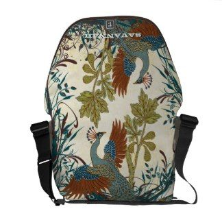 Vintage Peacock Swirl Fine Art Messenger Bag