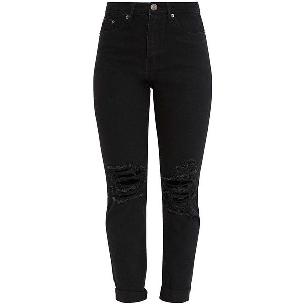 Black Slim BoyFriend Busted Knee Jean ($40) ❤ liked on Polyvore featuring jeans