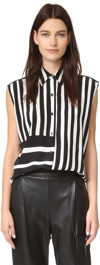 Tome Baja Stripe Lace Back Shirt  Details: Mismatched stripes bring graphic impact to this silk Tome blouse. Laces cinch the back. Fold-over collar and buttoned placket. Uneven hem. Sleeveless.