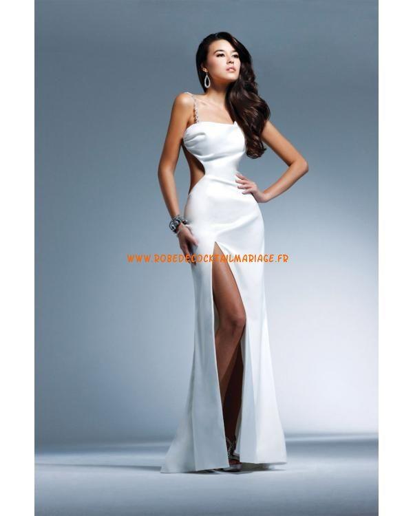 Belle robe simple blanche noire asymétrique satin robe de soirée 2013