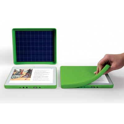 """One Laptop Per Child's XO 3.0 - Non-profit organization One Laptop per Child (OLPC) manufactures inexpensive laptops to help children in developing countries gain access to new technologies. A low-power """"ruggedized"""" laptop that can run on solar power. With the use of a solar panel soft cover.     It can also be charged via a manual hand crank. OLPC CTO Ed McNierney told Engadget in January that one minute of crank time yields 10 minutes of usage."""