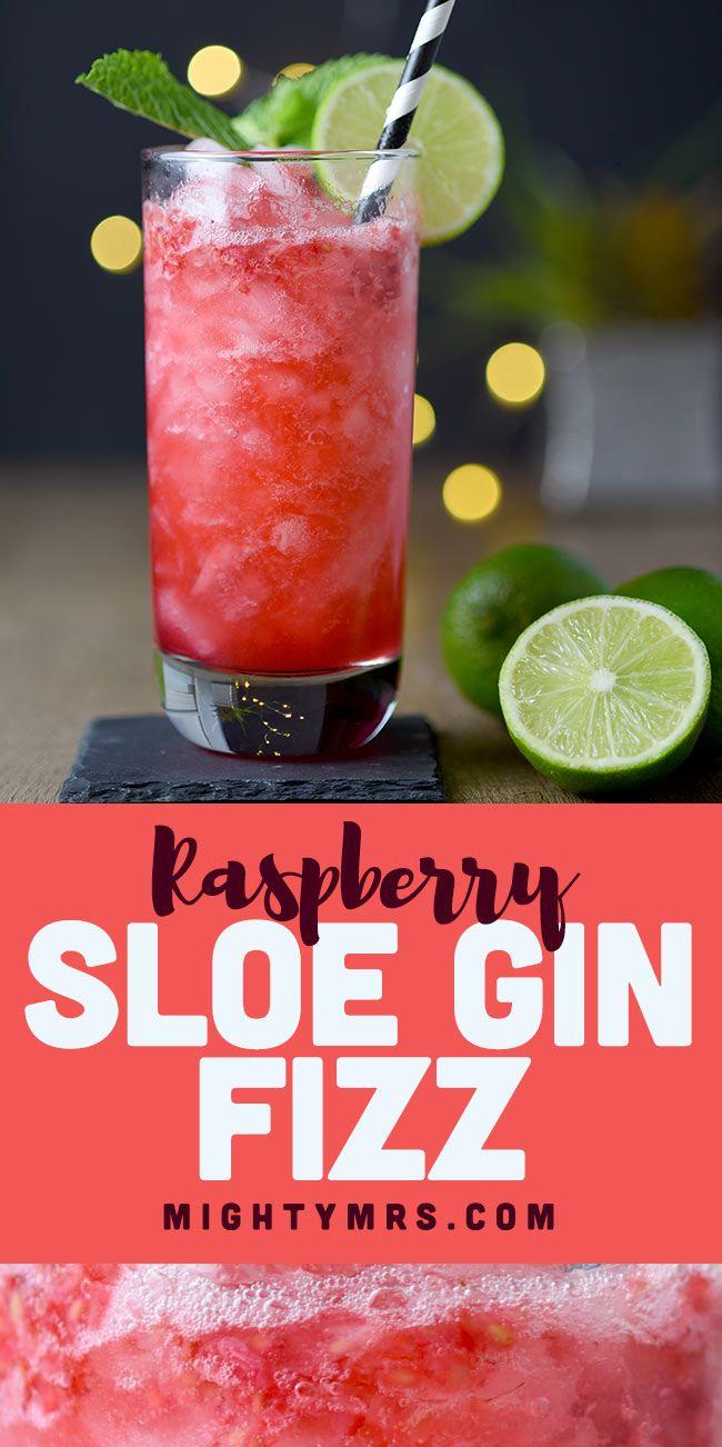 Raspberry Sloe Gin Fizz Cocktail Recipe Gin Fizz Cocktail Gin Fizz Sloe Gin