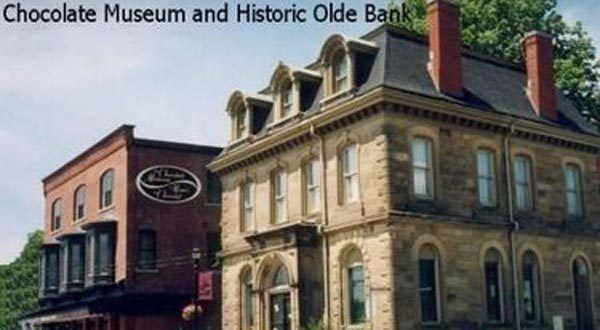 Hmm. A chocolate museum in New Brunswick. Wouldn't mind checking this out. As research for one of the Lora Weaver books, of course;) [Chocolate Museum and the Olde Bank in downtown St. Stephen, NB (Courtesy: Tourism New Brunswick)]