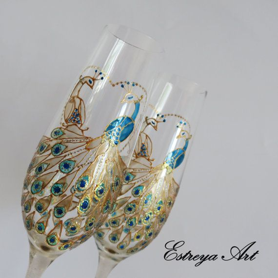 Peacock Wedding Wedding glasses gift couple Champagne