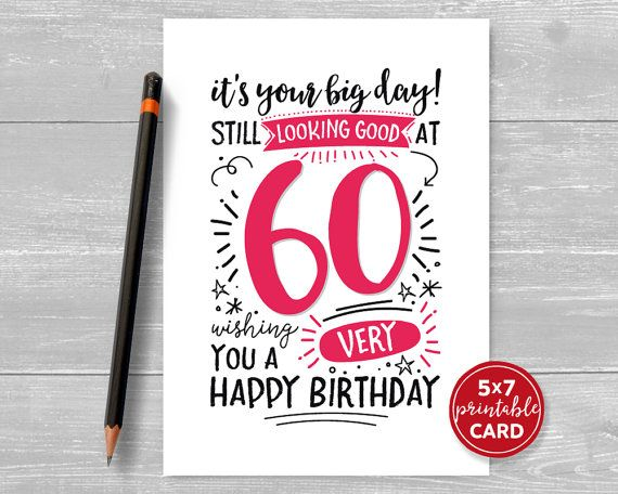 114 best Printable Cards images – Printable 60th Birthday Cards