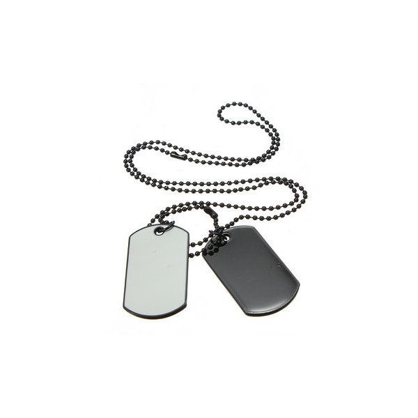 Army Style White Black 2 Dog Tag Necklace (16 BRL) ❤ liked on Polyvore featuring jewelry, necklaces, army, men's necklaces, white, pendant necklace, white pendant necklace, white jewelry, black white necklace and army jewelry