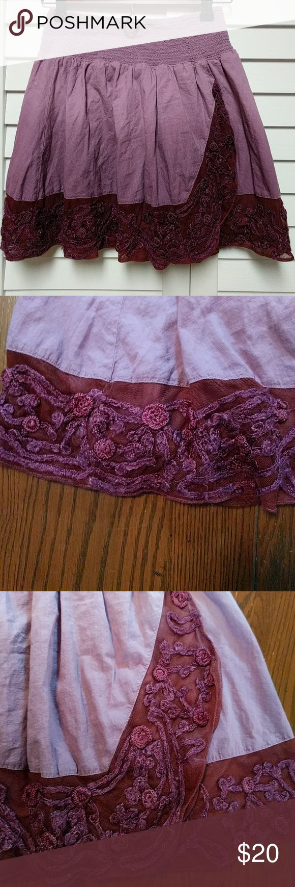 """Free People Ombre Lace Hem Skirt This ombre skirt is in good used condition, the lace hem has pulling as shown in pictures. The waist is a elastic. No stains or rips. From a smoke and pet free home.  13"""" Waist Free People Skirts"""
