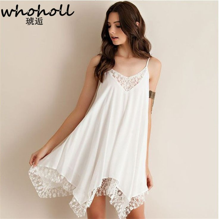 WHOHOLL Chiffon Lace Dress women 2017 summer off the shoulder white sexy Style Lolita Vintage Spaghetti Strap Lace Basic Dress