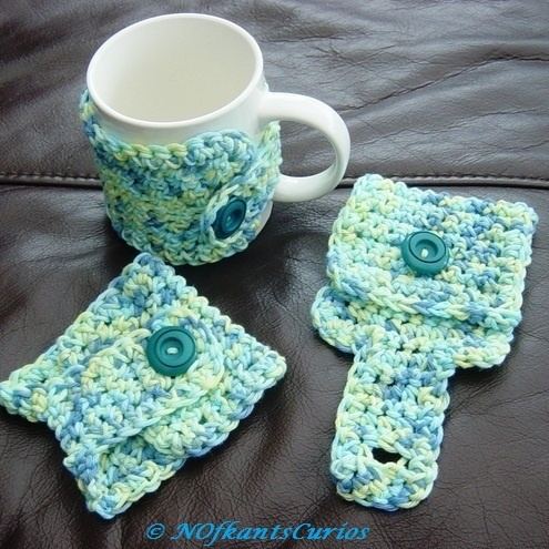 Marbled Blue Greens Crocheted Mug Cosy, for the mug in your life!
