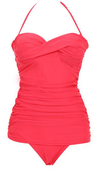 Coral Twist Ruched One-Piece Swimsuit - Sheinside.com