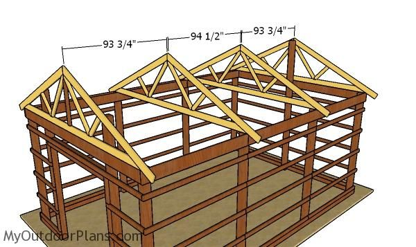 16x24 Pole Barn Roof Plans Myoutdoorplans Free Woodworking Plans And Projects Diy Shed Wooden Playhouse Pergola Barn Roof Building A Pole Barn Pole Barn