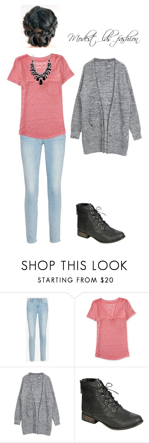"""""""Modest_lds_fashion"""" by modest-mormon-fashion ❤ liked on Polyvore featuring Frame, Aéropostale, Breckelle's and 2028"""