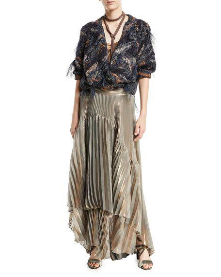 499bc91c6 Brunello Cucinelli Metallic Pleated Iridescent Tiered Maxi Skirt ...