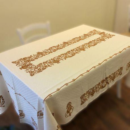 Tovaglia in misto lino stampata a mano a stampe romagnole