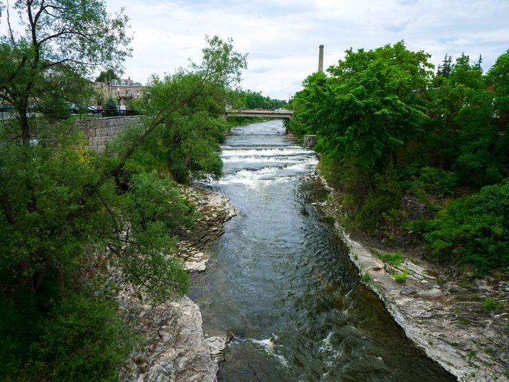 The Grand River falls in Fergus. #Fergus #Ontario #Falls #river