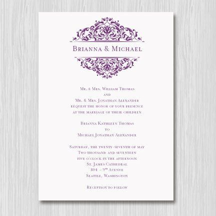 Printable wedding invitation template quotgracequot plum purple for Wedding invitation sample word document