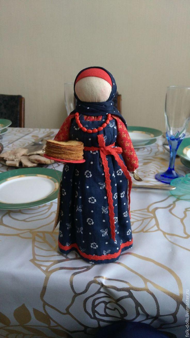 Купить Кукла Масленица - кукла ручной работы, Масленица, ткань хлопок, каменные бусины
