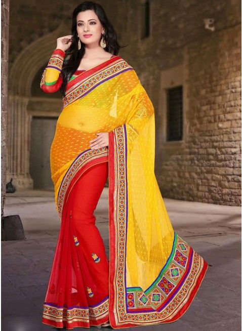 Butta Red & Yellow Embroidered #Saree With Resham Work