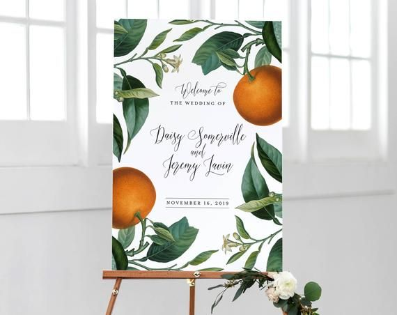 Orange Wedding Welcome Sign Template Printable Botanical Citrus Signage Instant DIY Decorations Edit