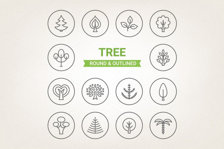 Circle tree icons by miumiu on Creative Market