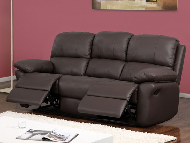 Relaxsofa Leder 3-Sitzer Milagro - Braun