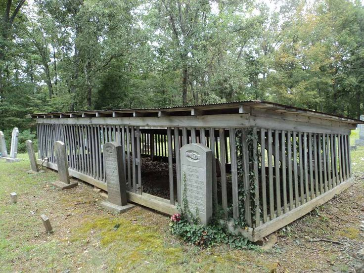 Houses of Spirits - This grave house in southern Kentucky's Muhlenberg County has a shed-style roof, and the tombstones are placed outside, demonstrating, perhaps, that the main concern here is protecting the grave rather than the stone. http://www.thefuneralsource.org/cemky.html
