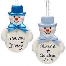 Personalised Boy's First Christmas Snowman Tree Bauble | wowthankyou.co.uk