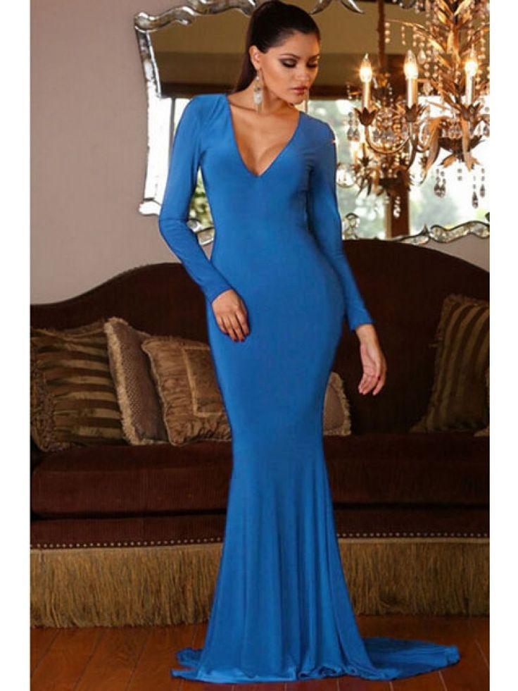 Rochie eleganta de seara albastra cu trena, decolteu adanc in V, maneci lungi si spatele gol