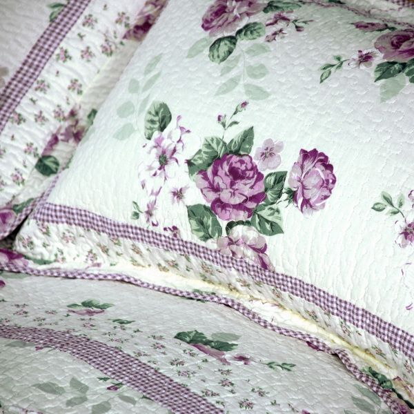 Purple Rose Print Bedding Full Queen Quilt Set Victorian Oversized Bedspread for Girls Vintage Style