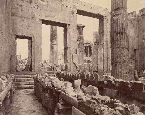 Erechtheum, Propylaea, showing steps and temple of Athena Apteros - A. D. White…