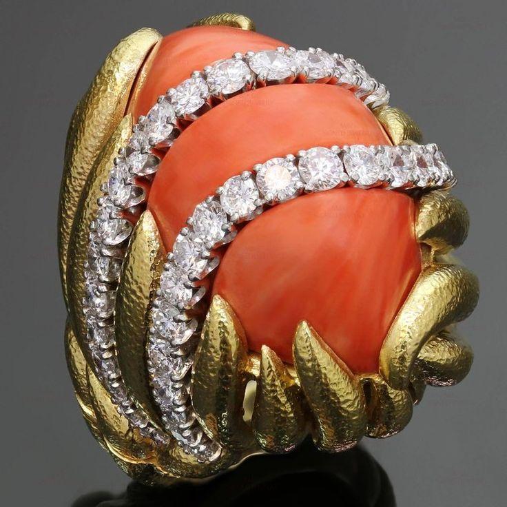 Дэвид Уэбб Натуральный Коралл Бриллиант Желтое Золото Платиновое Кольцо 2