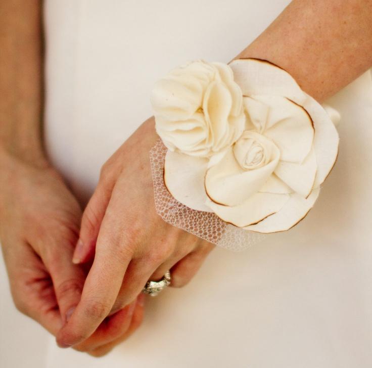 Wedding Wrist Corsage Fabric Flower