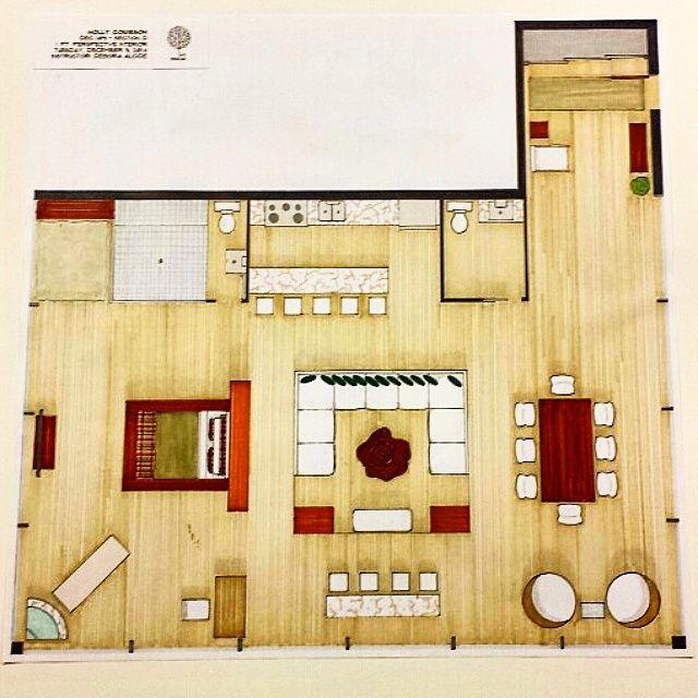 Open Concept Condo Floor Plan (Letraset Twin-Tip ProMarkers) #interiordesign #modern #rendering #promarker