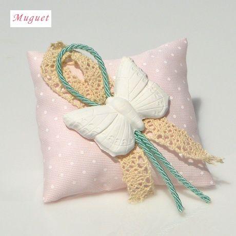 Αρωματικό μαξιλαράκι ροζ πουα με αρωματική πεταλούδα