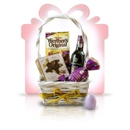 """Purple Joy  Acest #cos #cadou in tonuri de violet intens este un ideal cadou business, atat pentru angajatii dumneavoastra cat si pentru partenerii de afaceri. O varietate delicioasa de specialitati de ciocolata desavarsite de buchetul Merlot-ului de cea mai buna calitate. Ofera un """"multumesc"""" delicios de fiecare data cu cosul cadou Purple Joy.   #cadoubusiness #coscadou #cadougourmet #cosurigourmet"""