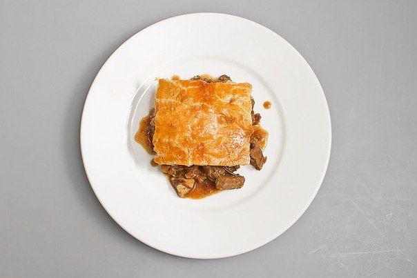 English sheep kidney pie and porcini mushrooms
