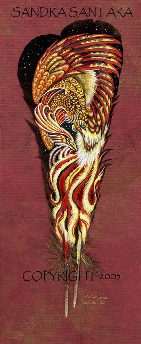 Firebird - painted in acrylic on turkey feathers