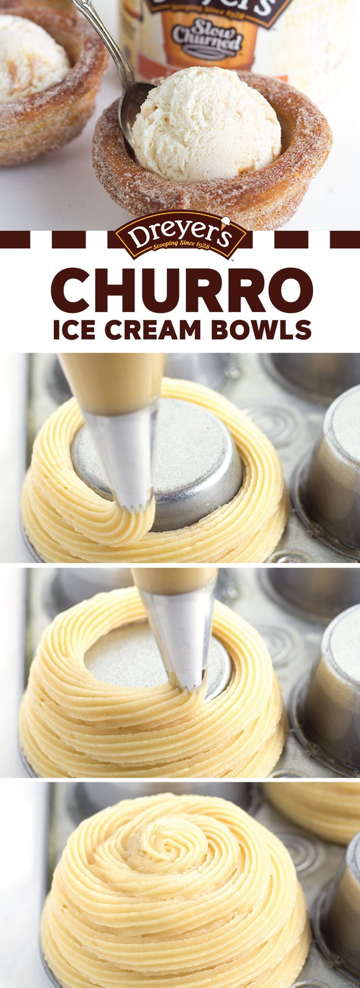 Bring out the cinnamon sugar and let's get baking in the kitchen! Your kids are sure to love helping you make this fun and creative recipe for Churro Ice Cream Bowls—especially since it involves a delicious scoop of Dreyer's Slow Churned Caramel Delight light ice cream. Could there be a more perfect treat for summer?!
