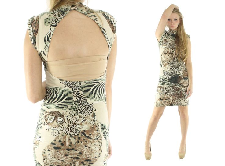 $46, Vintage 80s Knit Dress Bandage Dress Mini Dress Leopard Print Animal Print Dress Short Sleeve Dress 1980s Wiggle Dress Small S by ScarletFury on Etsy