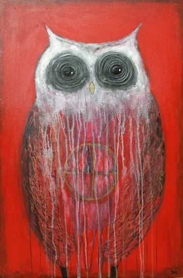 """Medicine Wheel Owl"" by artist Julie Sutherland - Buy Western Australian Art Online from Out of the Box Biz $800"