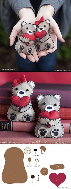 Медвежата с валентинками из фетра. Шаблоны