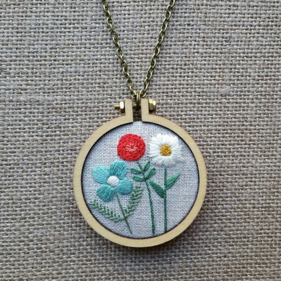 Flower Trio Embroidered Necklace / Embroidery Jewelry / Hand Embroidered Necklace / Wearable Art