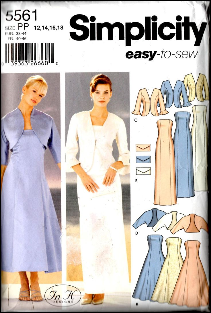 Simplicity 5561  Misses'/ Miss Petite Evening Dresses, Jacket, Bolero And Purse  Size (12-18) UNCUT by ThePatternShopp on Etsy