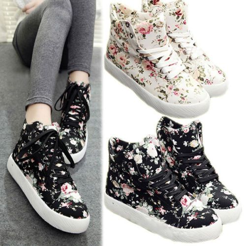 Women's Korean Canvas High Top Lace Up Floral Sport High Platform Shoes Sneakers | eBay
