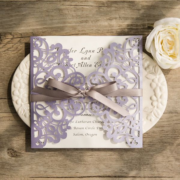 romantic lavender laser cut wedding invitations with grey ribbon bows EWWS124